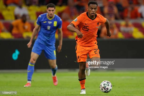 Jurrien Timber of Holland during the EURO match between Holland v Ukraine at the Johan Cruijff Arena on June 13, 2021 in Amsterdam Netherlands