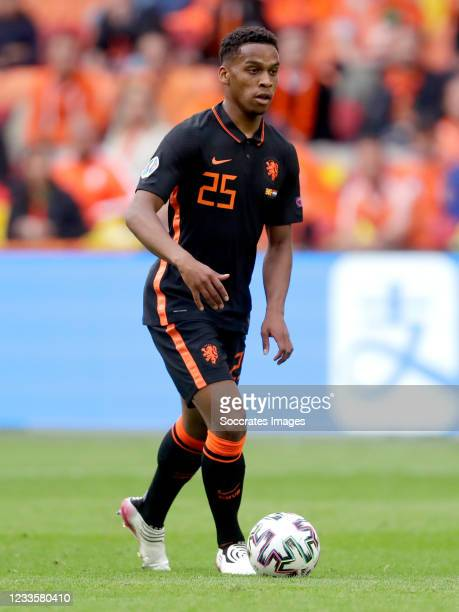 Jurrien Timber of Holland during the EURO match between North Macedonia v Holland at the Johan Cruijff Arena on June 21, 2021 in Amsterdam Netherlands