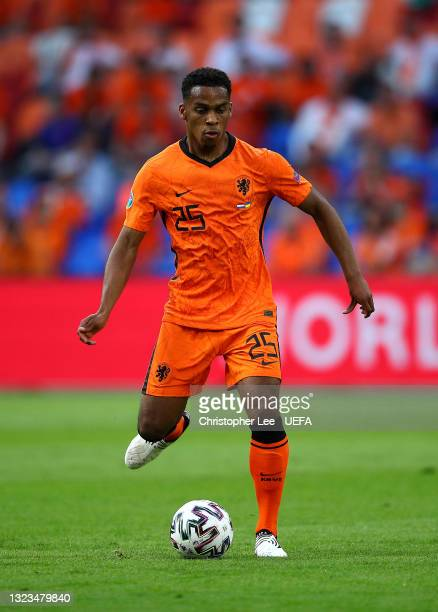 Jurrien Timber of Netherlands in action during the UEFA Euro 2020 Championship Group C match between Netherlands and Ukraine on June 13, 2021 in...