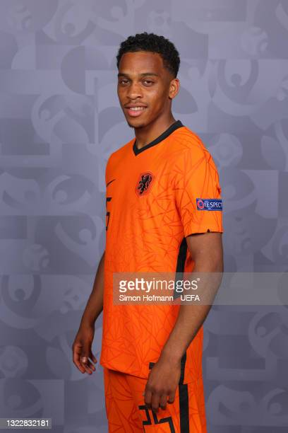 Jurrien Timber of Netherlands poses during the official UEFA Euro 2020 media access day on June 07, 2021 in Zeist, Netherlands.