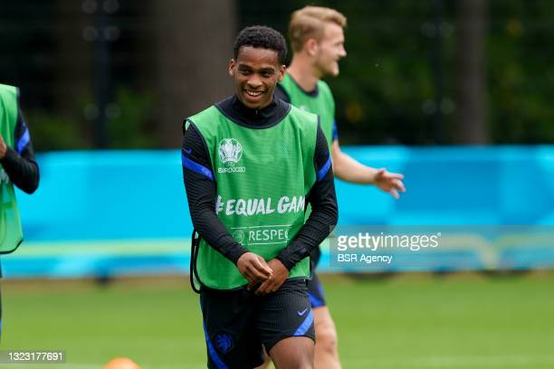 Jurrien Timber of the Netherlands during a Training Session of the Netherlands ahead of the UEFA Euro 2020 Championship Group C match between...