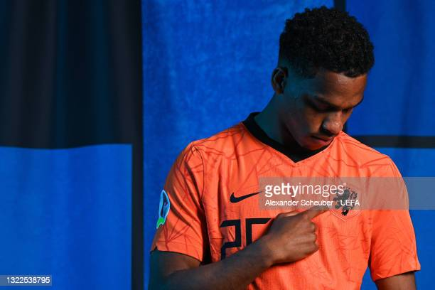 Jurrien Timber of the Netherlands poses during the official UEFA Euro 2020 media access day on June 07, 2021 in Zeist, Netherlands.