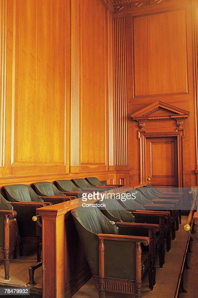 jury box in courtroom - juror law stock pictures, royalty-free photos & images
