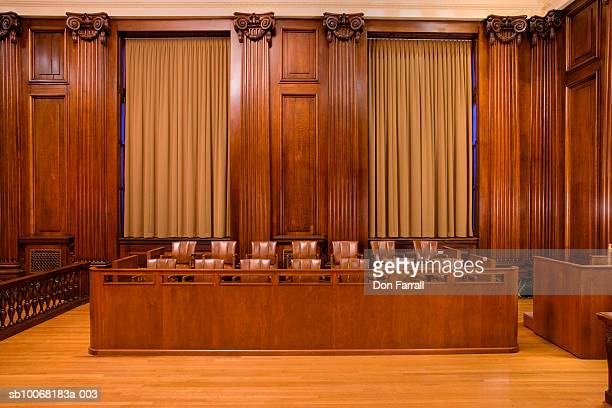 jury box in courtroom - courtroom stock pictures, royalty-free photos & images