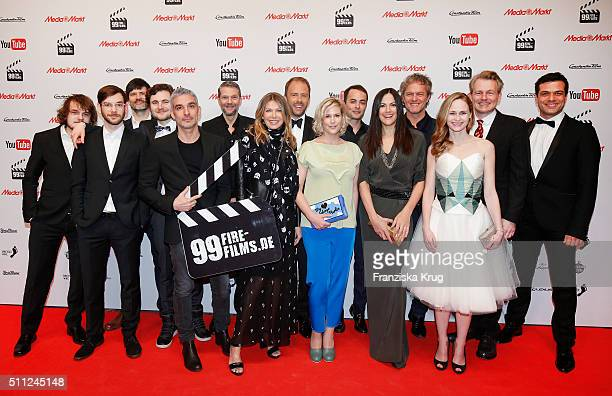 Jury groupshot at the 99Fire-Film-Award 2016 at Admiralspalast on February 18, 2016 in Berlin, Germany.