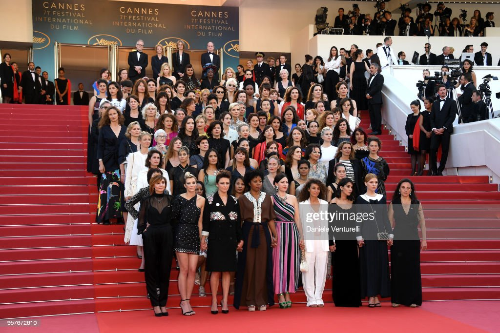 Jury head Cate Blanchett with other filmmakers reads a statement on the steps of the red carpet in protest of the lack of female filmmakers honored throughout the history of the festival at the screening of 'Girls Of The Sun (Les Filles Du Soleil)' during the 71st annual Cannes Film Festival at the Palais des Festivals on May 12, 2018 in Cannes, France. Only 82 films in competition in the official selection have been directed by women since the inception of the Cannes Film Festival whereas 1,645 films in the past 71 years have been directed by men.