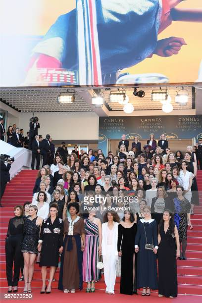 Jury head Cate Blanchett with other filmmakers reads a statement on the steps of the red carpet in protest of the lack of female filmmakers honored...