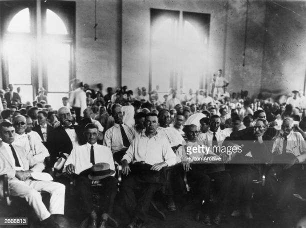 Jury in the Scopes trial also known as the 'Monkey trial' when Professor John Scopes was tried for teaching Darwinian evolution theory in Dayton...