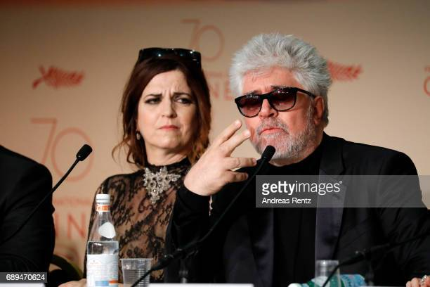 Jury member Agnes Jaoui and jury president Pedro Almodovar attend the Palme D'Or winner press conference during the 70th annual Cannes Film Festival...