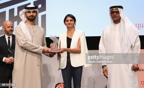 Jury member Ahd Kamel onstage with HH Sheikh Mansoor bin Mohammed bin Rashid Al Maktoum and DIFF Chairman Abdulhamid Juma at the Muhr Awards on day...