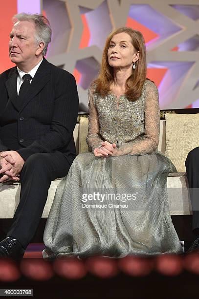 Jury member Alan Rickman and jury president Isabelle Huppert attend the 14th Marrakech International Film Festival Opening Ceremony on December 5...