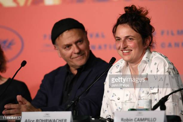 Jury Member Alice Rohrwacher speaks while Jury Member Enki Bilal attends the Jury Press Conference during the 72nd annual Cannes Film Festival on May...