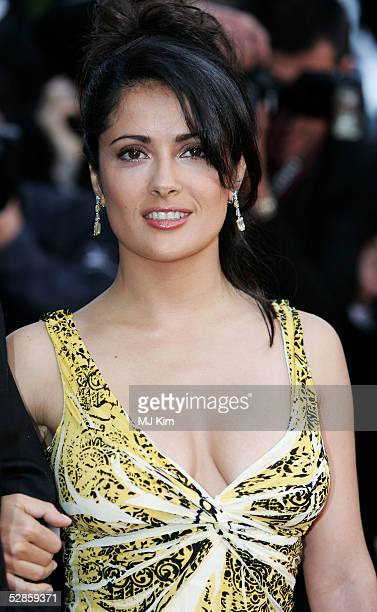 Jury member and actress Salma Hayek attends the screening of Broken Flowers at the Grand Theatre during the 58th International Cannes Film Festival...