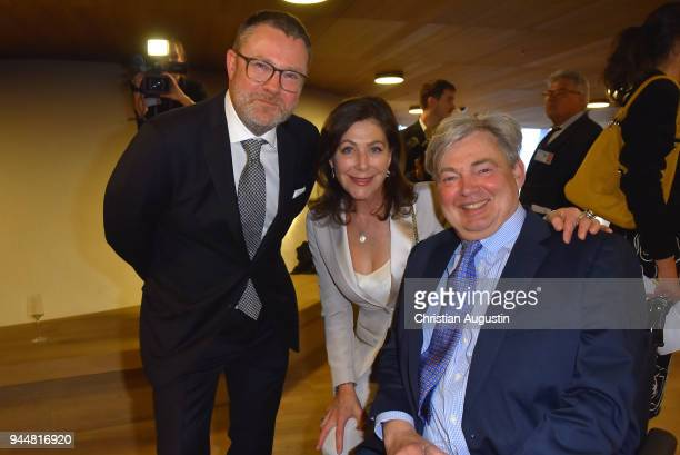 Jury member and Editorinchief of Stern Christian Krug Alexandra von Rehlingen and Matthias Prinz attend the Nannen Award 2018 at Elbphilharmonie on...