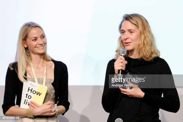Jury member Annika Murjahn and Winner of the AD Design Award in the category 'Interior' Chloe Negre are seen on stage at the AD Design summit at MUCA...