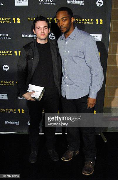 Jury member Anthony Mackie and screenwriter Derek Connolly pose with the Waldo Salt Screenwriting Award for Safety Not Guaranteed at the Awards Night...