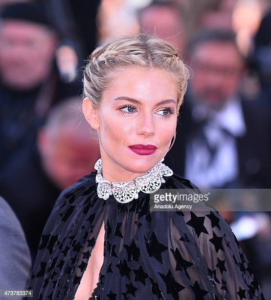 Jury member British actress Sienna Miller arrives for the screening of the film 'Carol' at the 68th Cannes Film Festival in Cannes France on May 17...