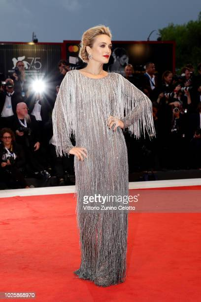 Jury member Carolina Crescentini walks the red carpet ahead of the 'Suspiria' screening during the 75th Venice Film Festival at Sala Grande on...