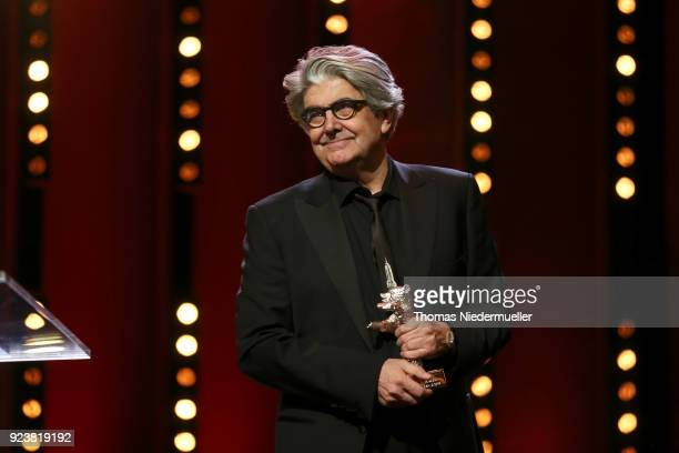 Jury Member Chema Prado is seen with a Silver Bear on stage at the closing ceremony during the 68th Berlinale International Film Festival Berlin at...