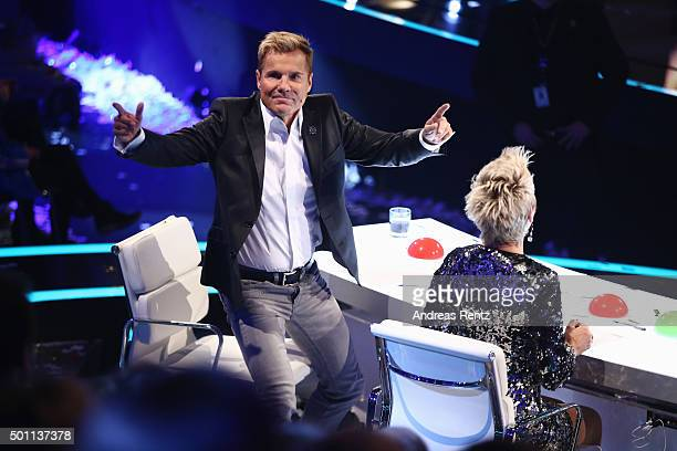 Jury member Dieter Bohlen gestures during the 'Das Supertalent' final show on December 12 2015 in Cologne Germany