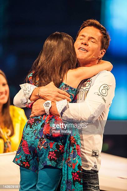 Jury member Dieter Bohlen hugs Tenyearold Erisa during DSDS Kids 1st Show at Coloneum on May 05 2012 in Cologne Germany