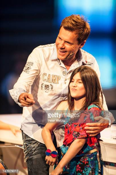 Jury member Dieter Bohlen together with Tenyearold Erisa during DSDS Kids 1st Show at Coloneum on May 05 2012 in Cologne Germany