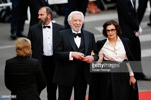 Jury member Donald Sutherland and actress Francine Racette attend the closing ceremony of the 69th annual Cannes Film Festival at the Palais des...