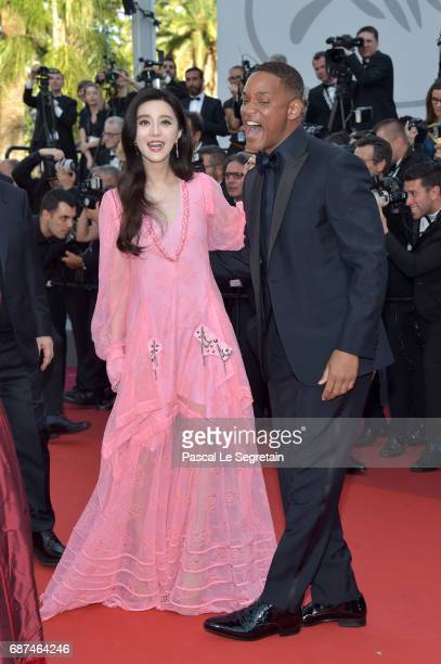 Jury member Fan Bingbing and Will Smith attend the 70th Anniversary of the 70th annual Cannes Film Festival at Palais des Festivals on May 23 2017 in...