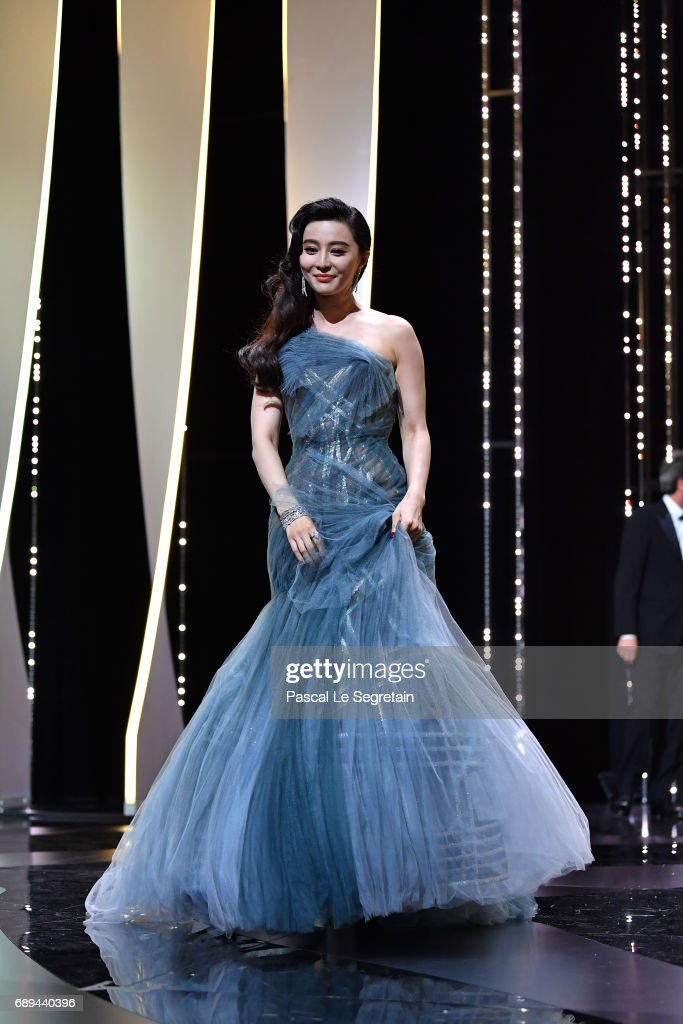 Jury member Fan Bingbing is seen on the stage during the Closing Ceremony of the 70th annual Cannes Film Festival at Palais des Festivals on May 28, 2017 in Cannes, France.