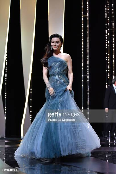 Jury member Fan Bingbing is seen on the stage during the Closing Ceremony of the 70th annual Cannes Film Festival at Palais des Festivals on May 28...