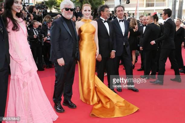 Jury member Fan Bingbing, President of the jury Pedro Almodovar and jury members Jessica Chastain, Gabriel Yared and Paolo Sorrentino attends the...