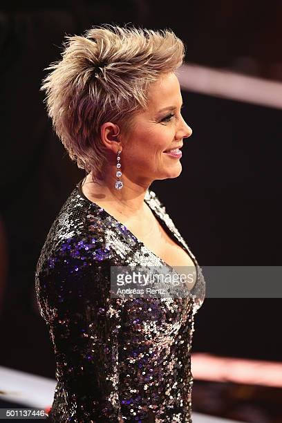 Jury member Inka Bause smiles during the 'Das Supertalent' final show on December 12 2015 in Cologne Germany