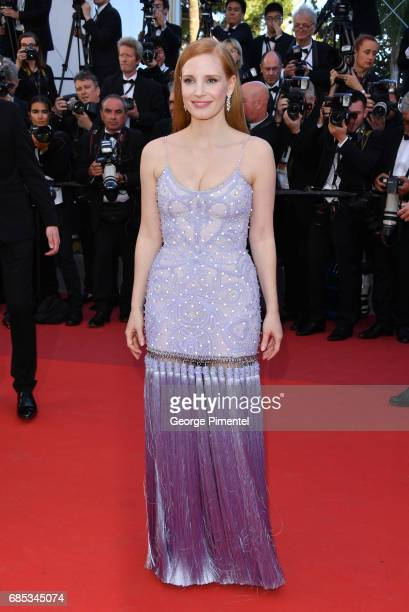 Jury member Jessica Chastain attends the Okja screening during the 70th annual Cannes Film Festival at Palais des Festivals on May 19 2017 in Cannes...