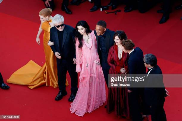 Jury member Jessica Chastain, President of the jury Pedro Almodovar and jury members Fan Bingbing, Will Smith, Agnes Jaoui, Maren Ade and Park...