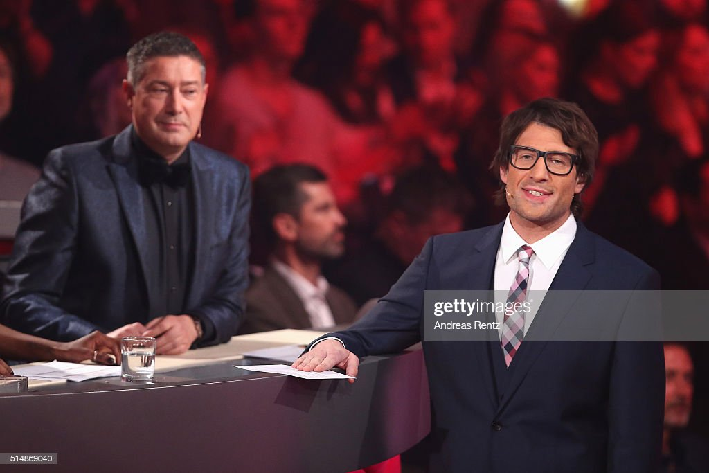 Jury member Joachim Llambi and host Daniel Hartwich are seen on stage during the 1st show of the television competition 'Let's Dance' on March 11, 2016 in Cologne, Germany.