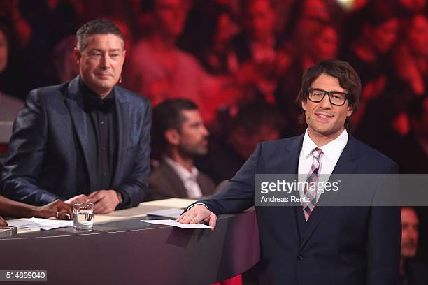 Jury member Joachim Llambi and host Daniel Hartwich are seen on stage during the 1st show of the television competition 'Let's Dance' on March 11...
