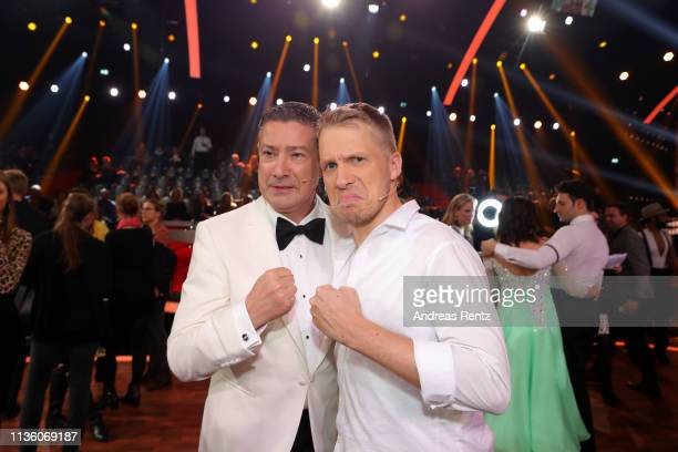 """Jury member Joachim Llambi and Oliver Pocher on stage during the pre-show """"Wer tanzt mit wem? Die grosse Kennenlernshow"""" of the television..."""