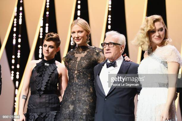 Jury member Kristen Stewart jury president Cate Blanchett director Martin Scorsese and jury member Lea Seydoux appear onstage at the opening ceremony...