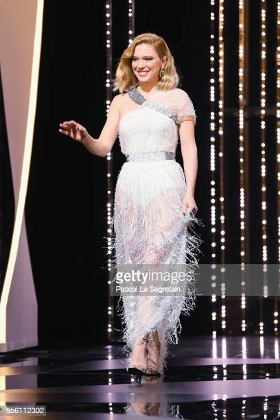 Jury member Lea Seydoux walks onstage at the Jury opening ceremony during the 71st annual Cannes Film Festival at Palais des Festivals on May 8 2018...