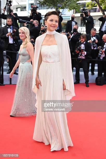 """Jury member Maggie Gyllenhaal attends the """"Annette"""" screening and opening ceremony during the 74th annual Cannes Film Festival on July 06, 2021 in..."""