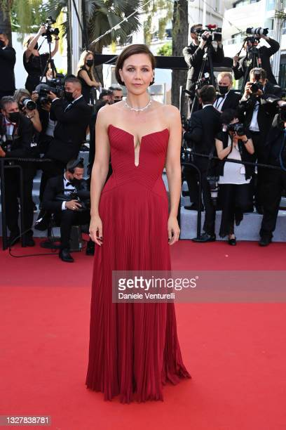 """Jury member Maggie Gyllenhaal attends the """"Benedetta"""" screening during the 74th annual Cannes Film Festival on July 09, 2021 in Cannes, France."""