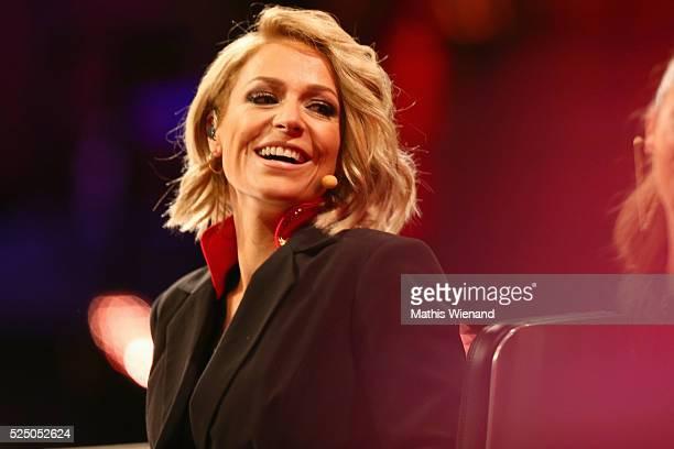 Jury member Michelle is seen on stage during the third event show of the tv competition 'Deutschland sucht den Superstar' at Landschaftspark Duisburg...