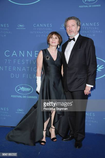 Jury member Robert Guediguian and his wife Ariane Ascaride arrive at the Gala dinner during the 71st annual Cannes Film Festival at Palais des...