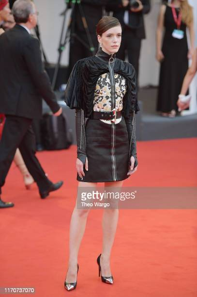 Jury Member Stacy Martin walks the red carpet ahead of the Opening Ceremony and the La Vérité screening during the 76th Venice Film Festival at Sala...