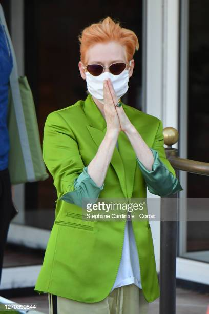 Jury member Tilda Swinton is seen arriving at the Excelsior during the 77th Venice Film Festival on September 03, 2020 in Venice, Italy.