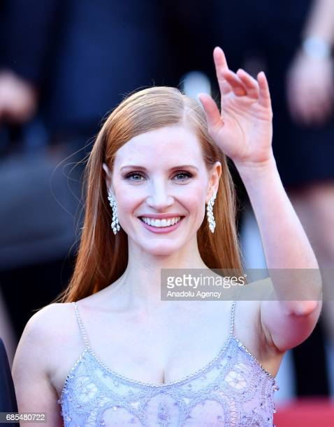 Jury member US actress Jessica Chastain arrives for the screening of the film 'Okja' in competition at the 70th annual Cannes Film Festival in Cannes...
