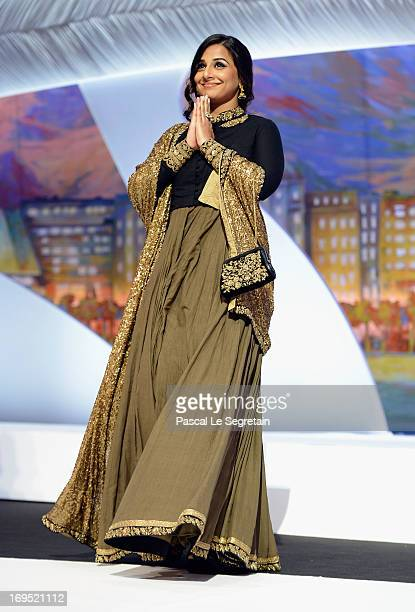 Jury member Vidya Balan arrives on stage at the Inside Closing Ceremony during the 66th Annual Cannes Film Festival at the Palais des Festivals on...