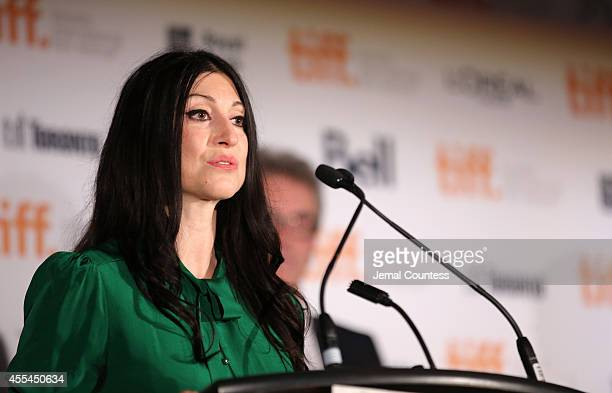 Jury member visual artist Floria Sigismondi speaks onstage during the TIFF Awards Brunch during the 2014 Toronto International Film Festival at...