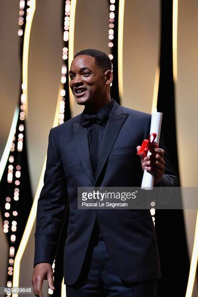 Jury member Will Smith is seen on the stage during the Closing Ceremony of the 70th annual Cannes Film Festival at Palais des Festivals on May 28...