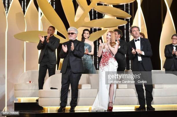 Jury member Will Smith President of the jury Pedro Almodovar and jury members Fan Bingbing Jessica Chastain Gabriel Yared Paolo Sorrentino and Park...